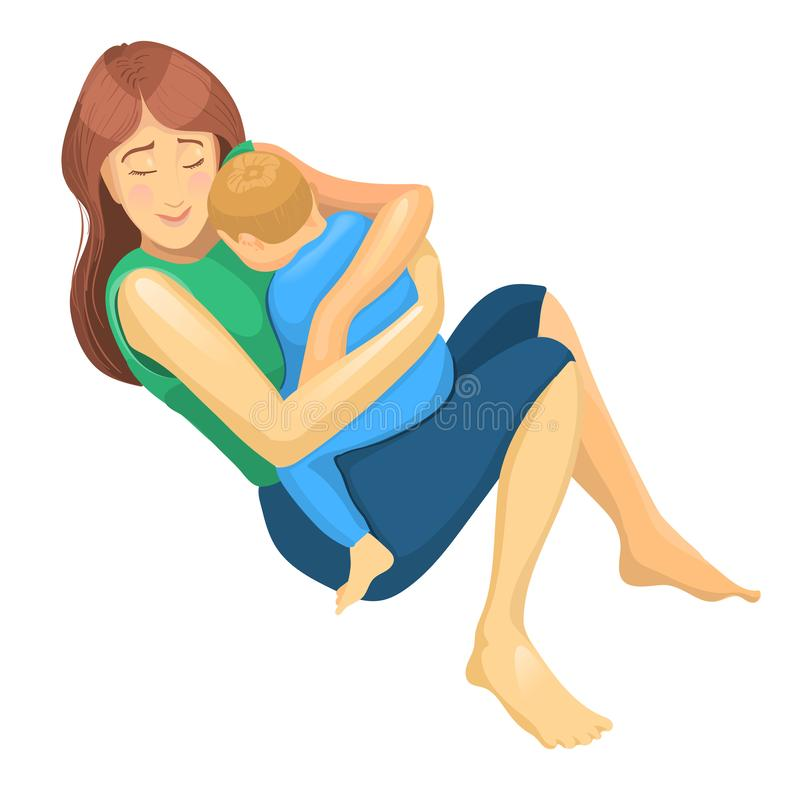 Realistic sketch of mother and son in her hug. Concept illustration for Mother Day. royalty free illustration