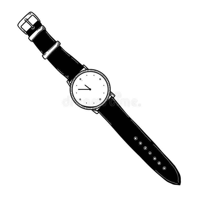 Realistic sketch of a watch. Wristwatches on the strap royalty free illustration