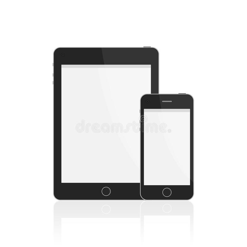 Realistic smart phone and tablet. vector illustration