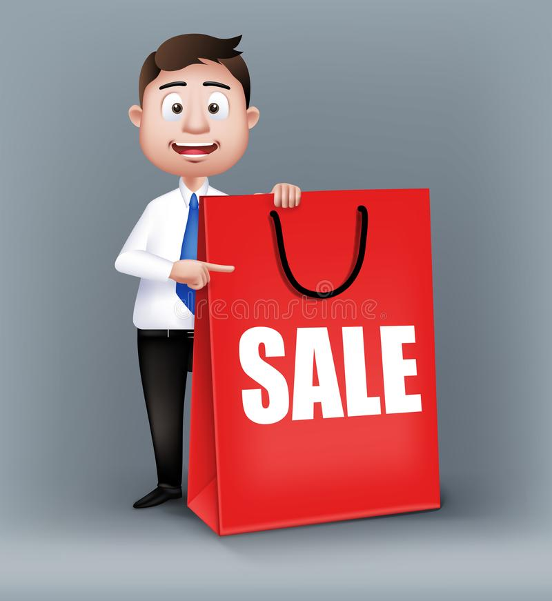 Realistic Smart Salesman or Business Man Characters. Holding Empty Red Sale Shopping Bag in Long Sleeve and Necktie Isolated in White Background. Editable royalty free illustration