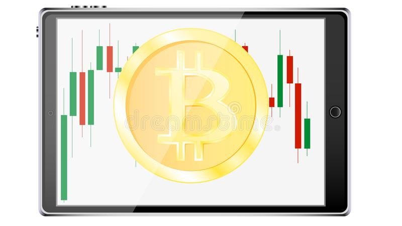A realistic smart tablet computer with an exchange chart of price changes with a bitcoin coin, a crypto currency in the form of Ja vector illustration