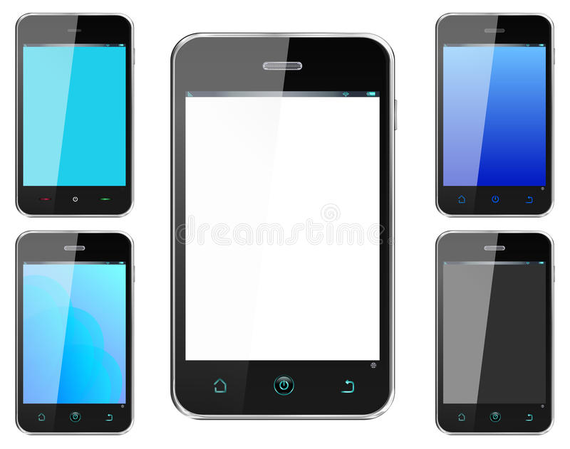 Realistic Smartphone Cellphone with alternate colo vector illustration