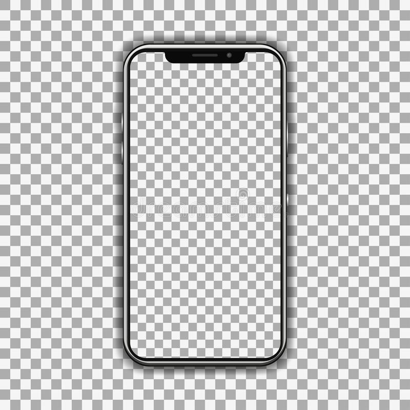 Realistic smartphone isolated on transparent background with a transparent screen - vector stock illustration