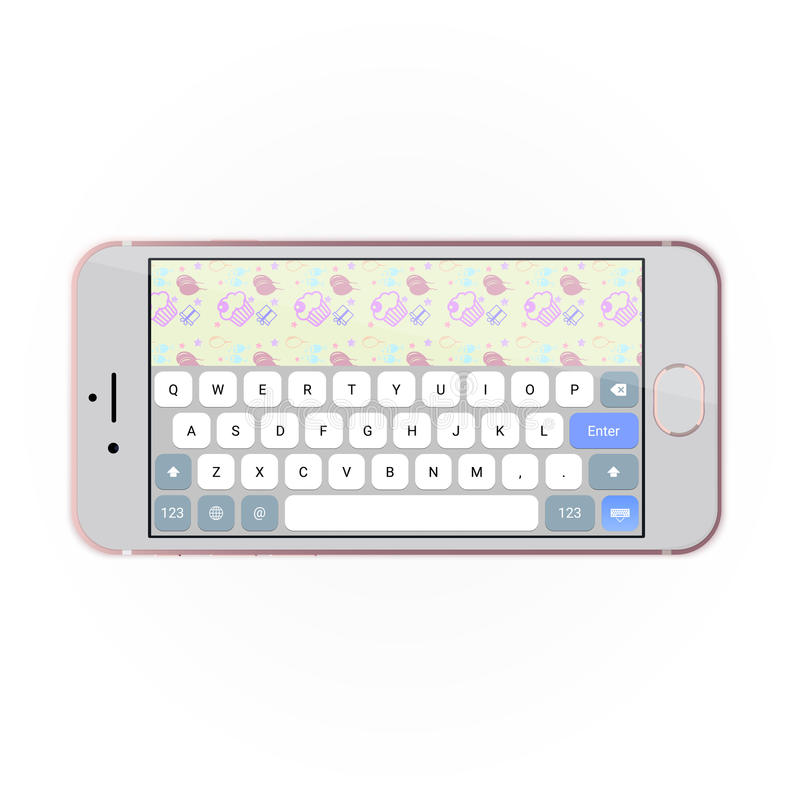 Realistic smartphone with keyboard on screen in horizontal position. royalty free illustration