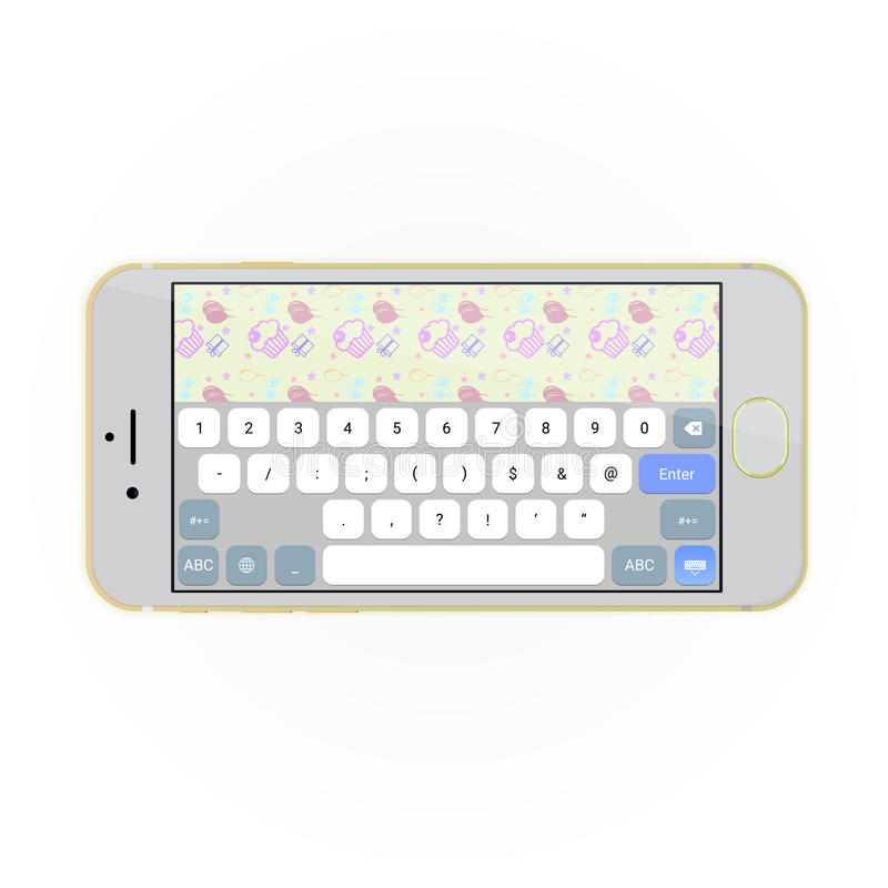 Realistic smartphone with keyboard on screen in horizontal position. stock illustration