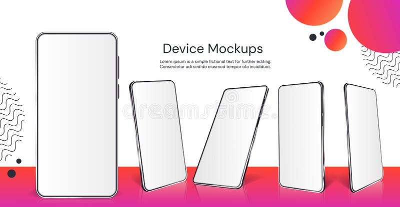 Realistic smartphone mockup. Cellphone with blank display isolated templates, different angles views. Vector illustration royalty free illustration