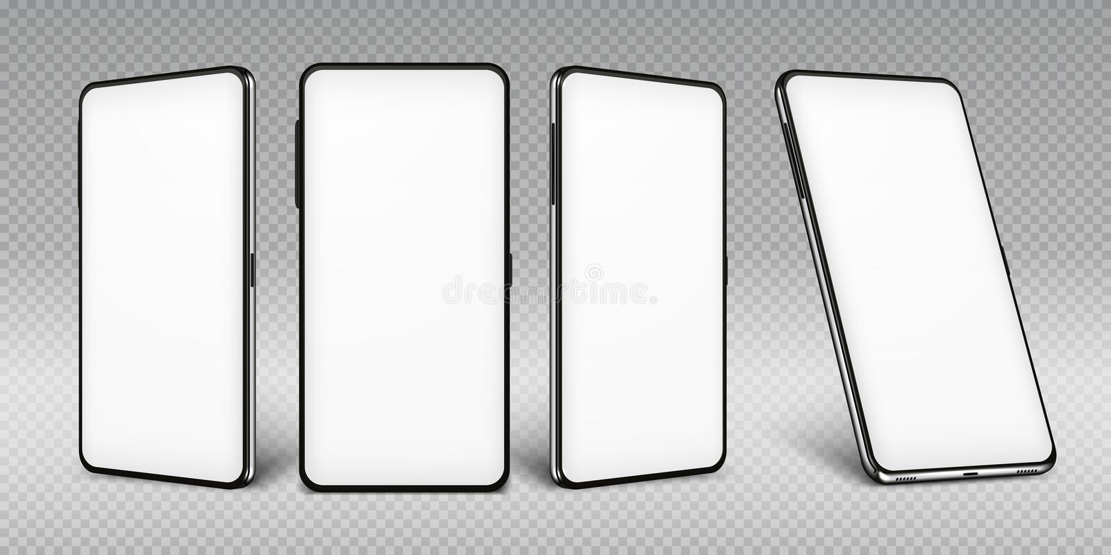 Realistic smartphone mockup. Cellphone frame with blank display isolated templates, phone different views. Vector mobile. Realistic smartphone mockup. Cellphone vector illustration