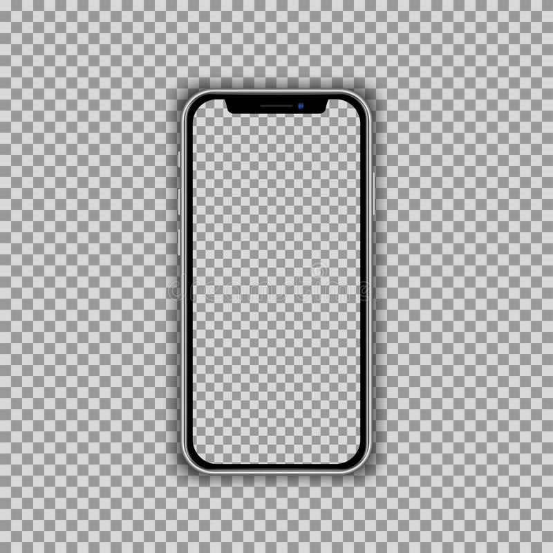 Realistic smartphone screen template isolated on transparent background. Front view mockup. royalty free illustration