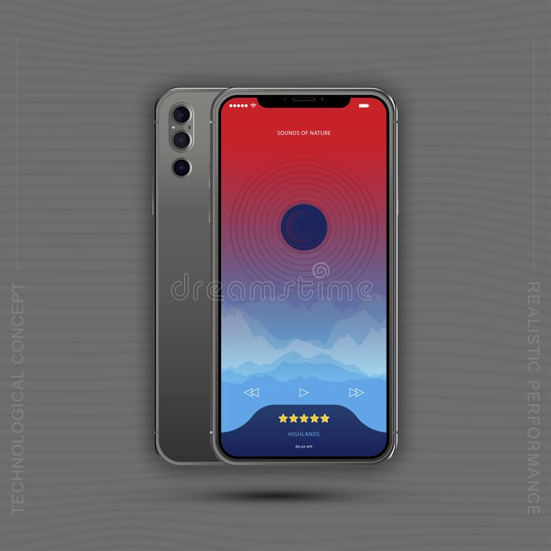 Realistic Smartphones with mobile music application. Front side with screen and back side with cameras isolated on gray background stock illustration
