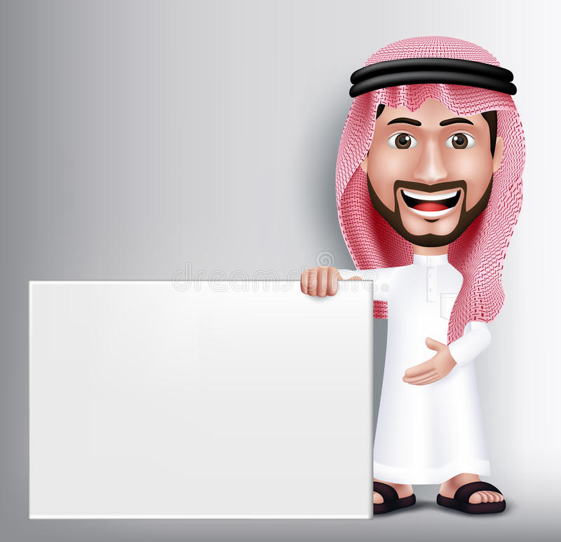 Realistic Smiling Handsome Saudi Arab Man Character. In 3D Posing Gesture with Thobe Dress Holding White Blank Board for Text or Titles. Editable Vector stock illustration