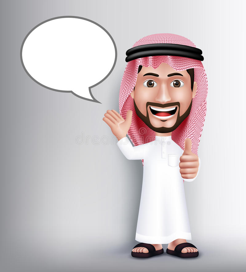 Realistic Smiling Handsome Saudi Arab Man Character. In 3D Posing with Thobe Dress Talking With Blank Speach Bubbles with Okay Hand Sign Gesture. Editable stock illustration