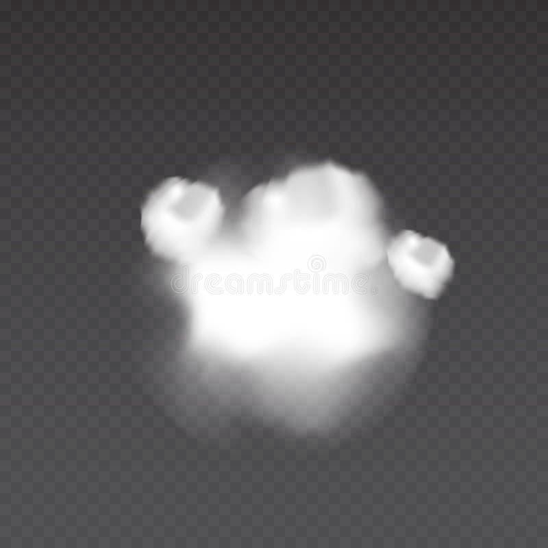 Realistic smoke bomb on transparent background. Explosion steam. Fog texture. stock illustration
