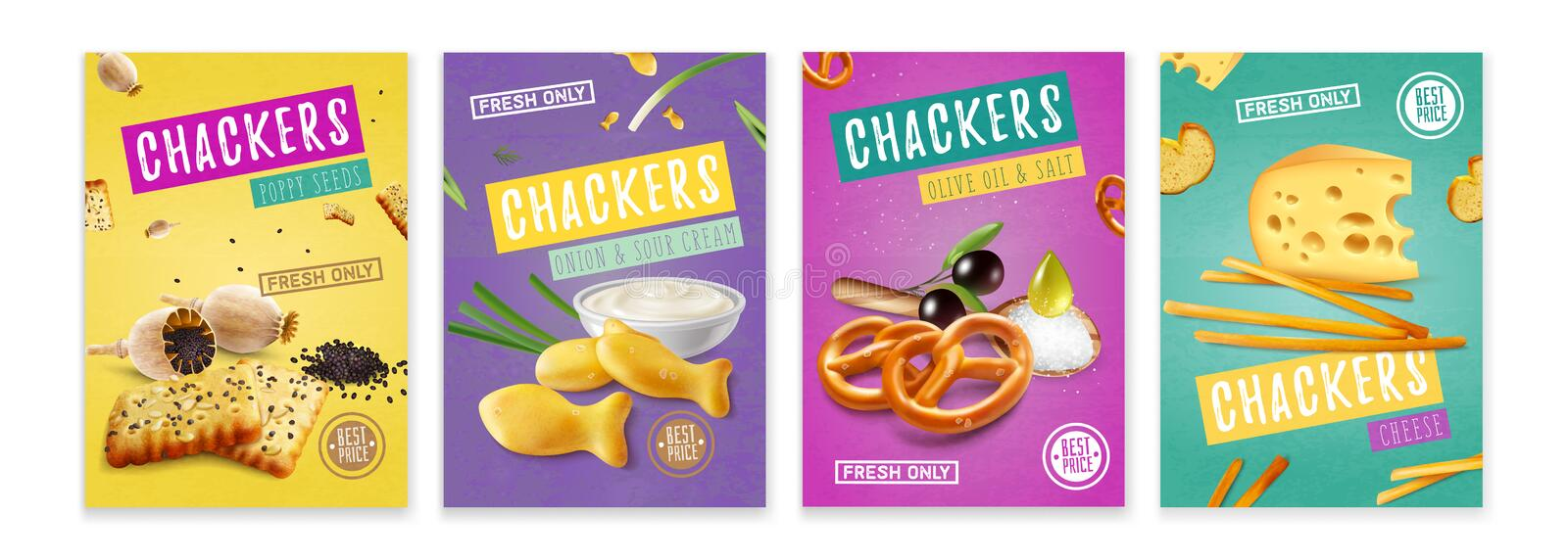 Realistic Snacks Poster Set royalty free stock photography