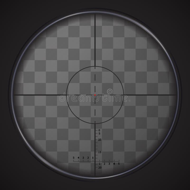Realistic sniper sight on transparent background. Realistic sniper sight with measurement marks on transparent background stock illustration
