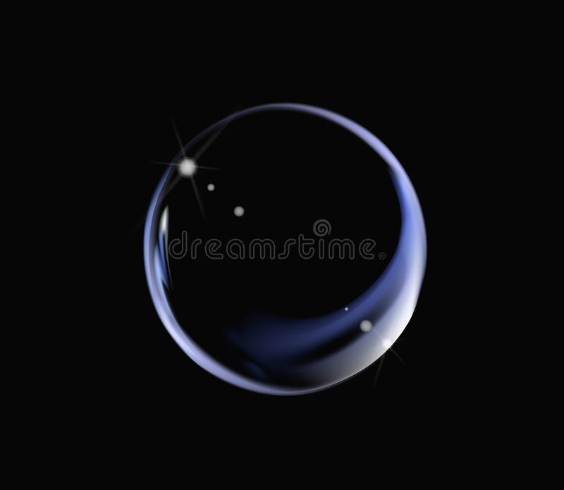 Realistic soap bubble with rainbow colors on black background. Soap Bubble with glares. Bubble illustration vector stock illustration