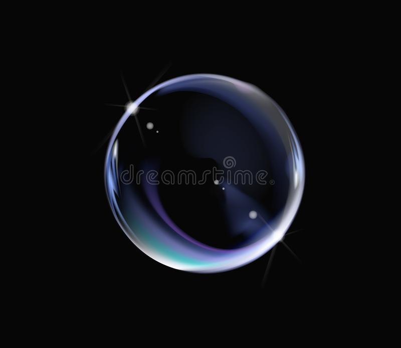 Realistic soap bubble with rainbow colors on black background. Soap Bubble with glares. Bubble illustration vector royalty free illustration