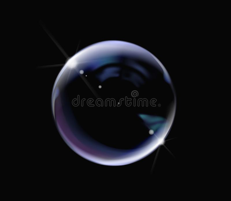 Realistic soap bubble with rainbow colors on black background. Soap Bubble with glares. Bubble illustration vector vector illustration