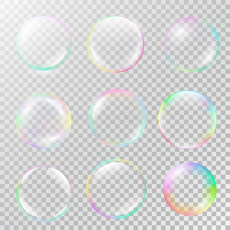 Realistic soap bubble set with rainbow reflection. Isolated vector on a transparent background. Illustration with transparencies, gradient and effects vector illustration