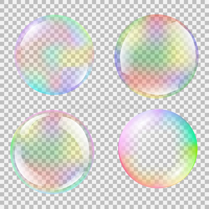 Realistic soap bubble set with rainbow reflection. Isolated vector on a transparent background. Illustration with transparencies, gradient and effects stock illustration