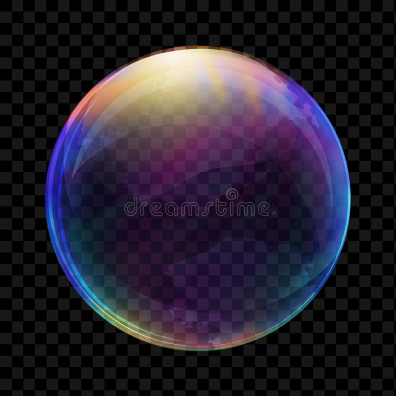 Realistic soap bubble. Vector. Transparent realistic soap bubble on dark background royalty free illustration