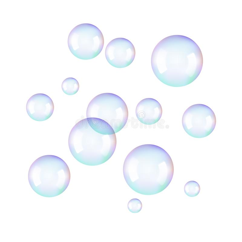 Realistic soap bubbles. Rainbow reflection bubbles isolated vector on transparent illustration vector illustration