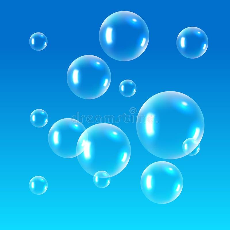 Realistic soap bubbles. Rainbow reflection bubbles isolated vector transparent illustration.  stock illustration