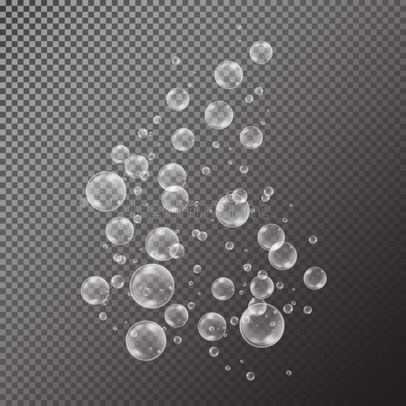 Realistic soap bubbles with rainbow reflection set isolated on the black transparent background. Vector Illustration vector illustration