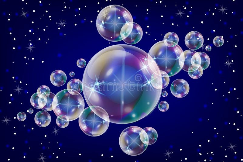 Realistic soap bubbles with rainbow reflection set isolated on the blue sparkling background. stock illustration