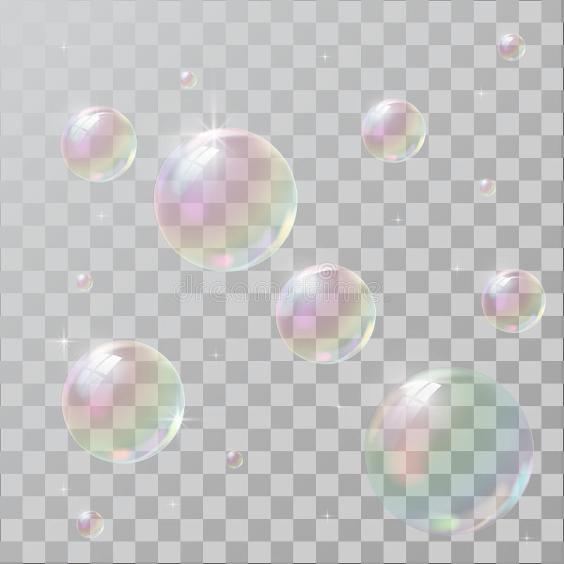 Realistic soap bubbles with rainbow reflection. Set isolated vector illustration royalty free illustration