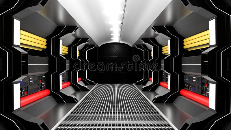 Realistic spaceship sci-fi corridor black stock illustration