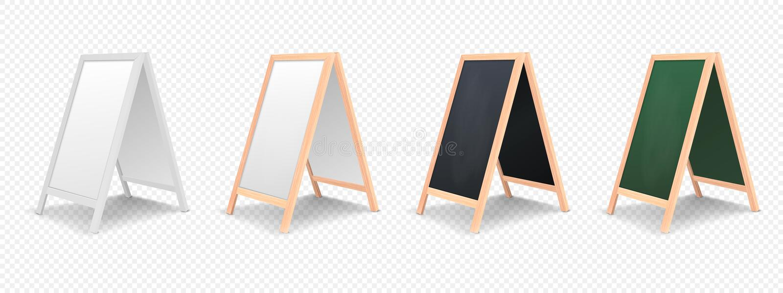 Realistic menu announcement board icon set isolated on transparent background. royalty free illustration
