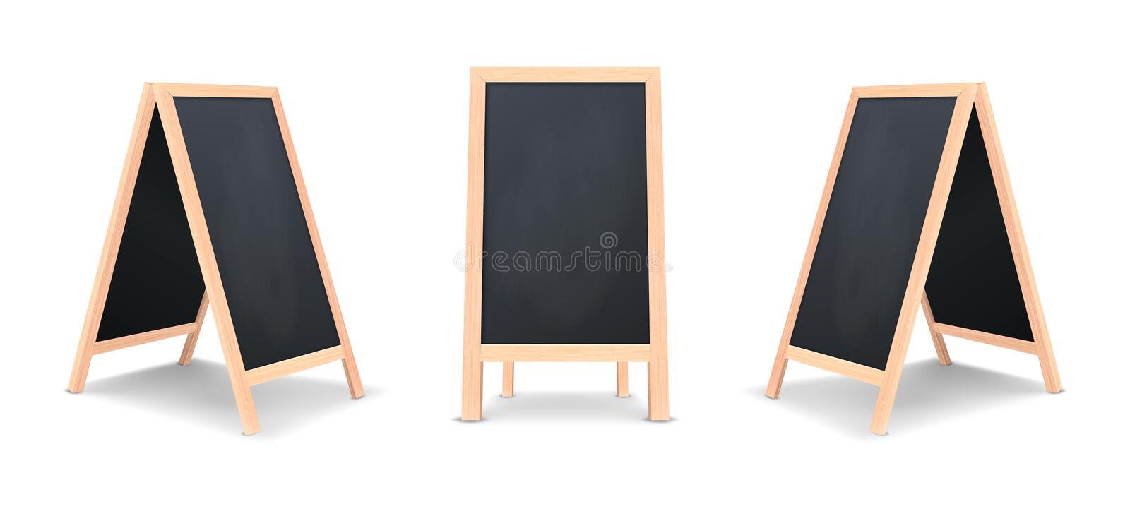Realistic special menu announcement board icon set. Vector clean restaurant outdoor blackboard background. Mockup of. Chalkboard for restaurant menu, on white stock illustration