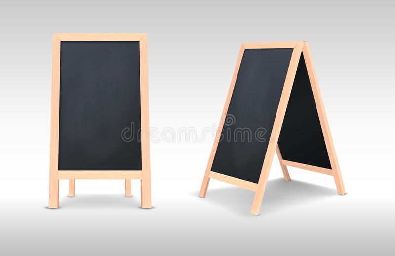 Realistic special menu announcement board icon set. Vector clean restaurant outdoor blackboard background. Mockup of vector illustration