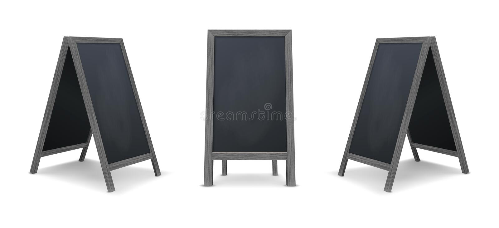 Realistic special menu announcement board icon set. Vector clean restaurant outdoor blackboard background. Mockup of. Chalkboard for restaurant menu, isolated stock illustration