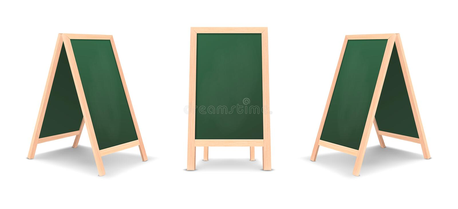 Realistic special menu announcement board icon set. Vector clean restaurant outdoor green board background. Mockup of stock illustration