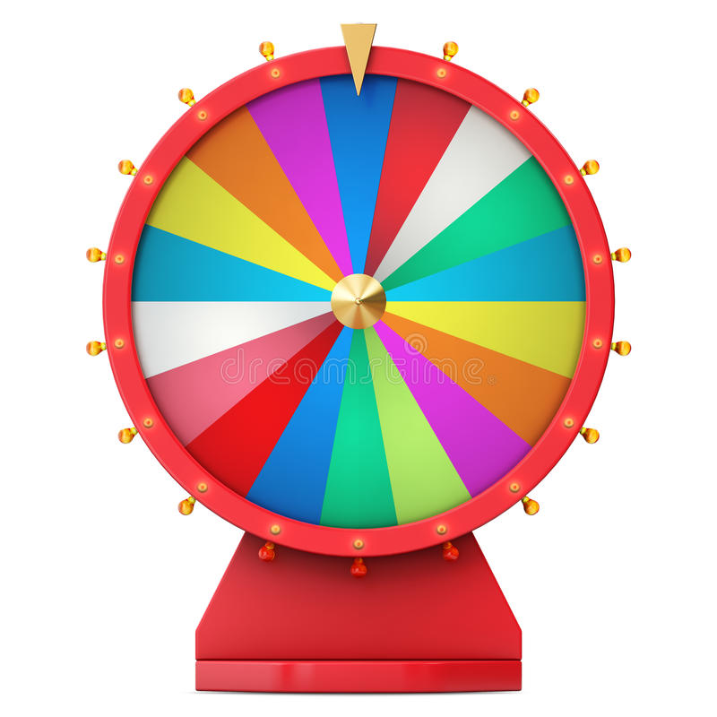 Realistic spinning fortune wheel, lucky roulette. Colorful wheel of luck or fortune. Wheel fortune isolated on white, 3d vector illustration