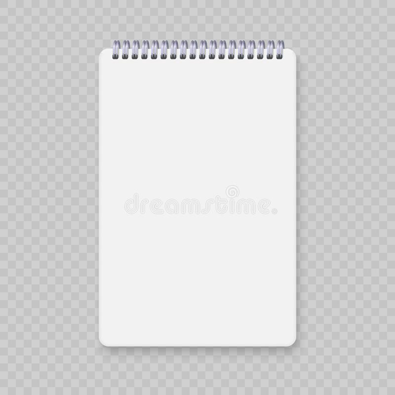 Realistic spiral notebook mockup royalty free illustration