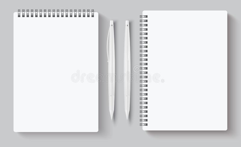 Realistic spiral notebooks. Blank notepad and pen. Vector illustration mock up for corporate identity isolated on gray. Realistic spiral notebooks. Blank notepad royalty free illustration