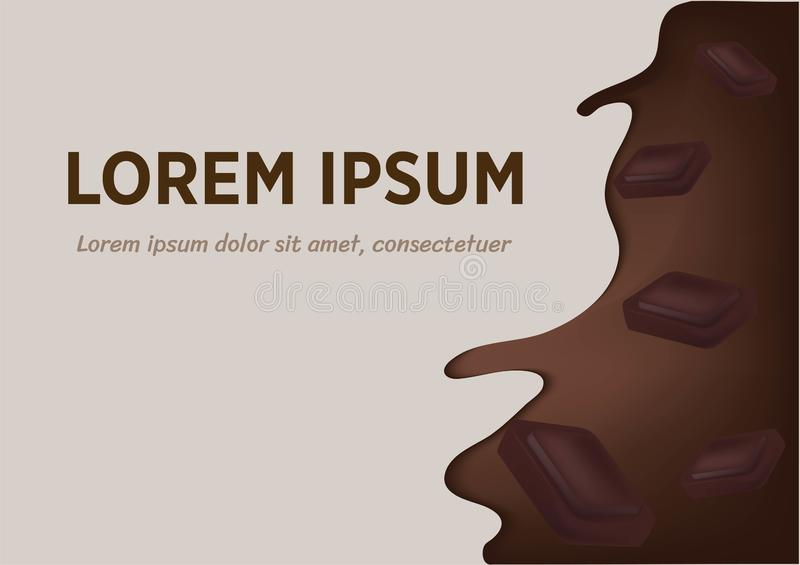 Realistic splash flowing chocolate or cocoa with chocolate pieces. Vector design elements stock illustration