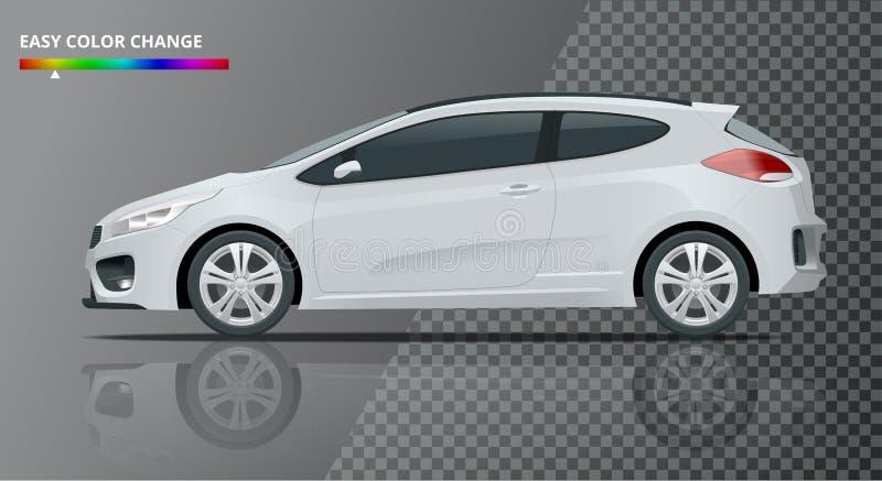 Realistic sportcar or hatchback vehicle. SUV car set on transparent background royalty free illustration