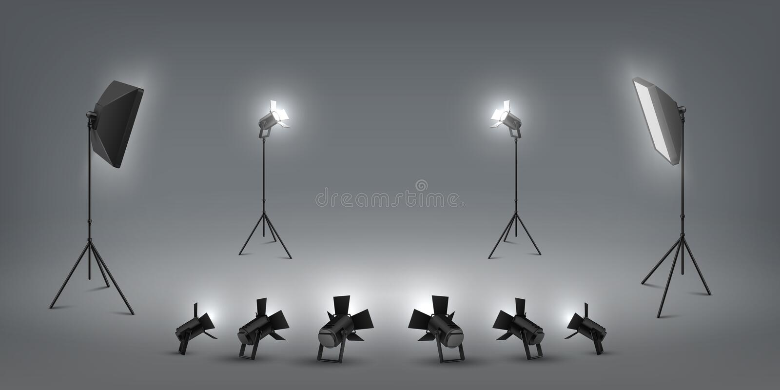 Realistic spotlight. Studio light effects, floodlights and softbox, photo studio and stage light. Vector set of concert stock illustration