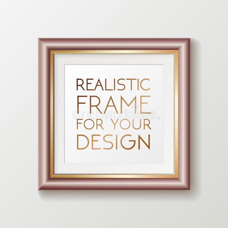 Realistic square gold frame template, frame on the wall mockup with decorative borders royalty free illustration