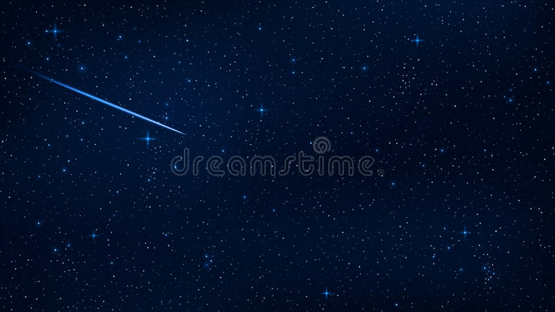 A realistic starry sky with a blue glow. Beautiful shooting star. The meteorite is falling. Shining stars in the dark sky. Backgro stock illustration