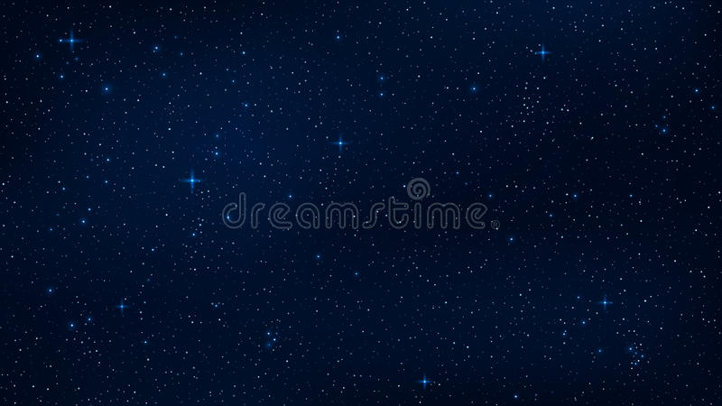 A realistic starry sky with a blue glow. Shining stars in the dark sky. Background, wallpaper for your project. Vector illustratio royalty free illustration