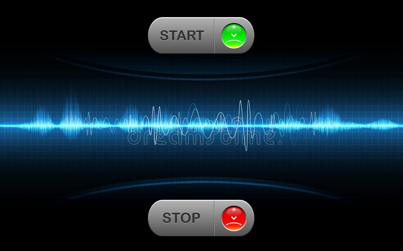 Realistic start and stop button sound wave abstract technology vector illustration
