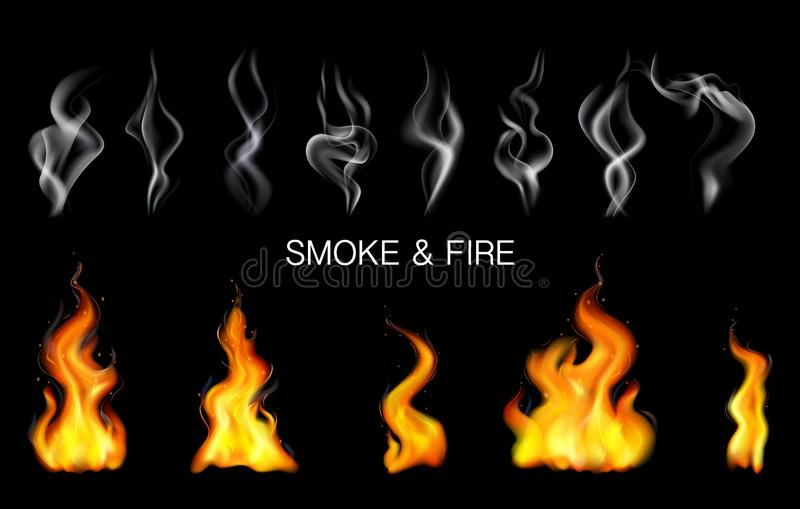 Realistic Steam Smoke Fire Flame Icon Set vector illustration