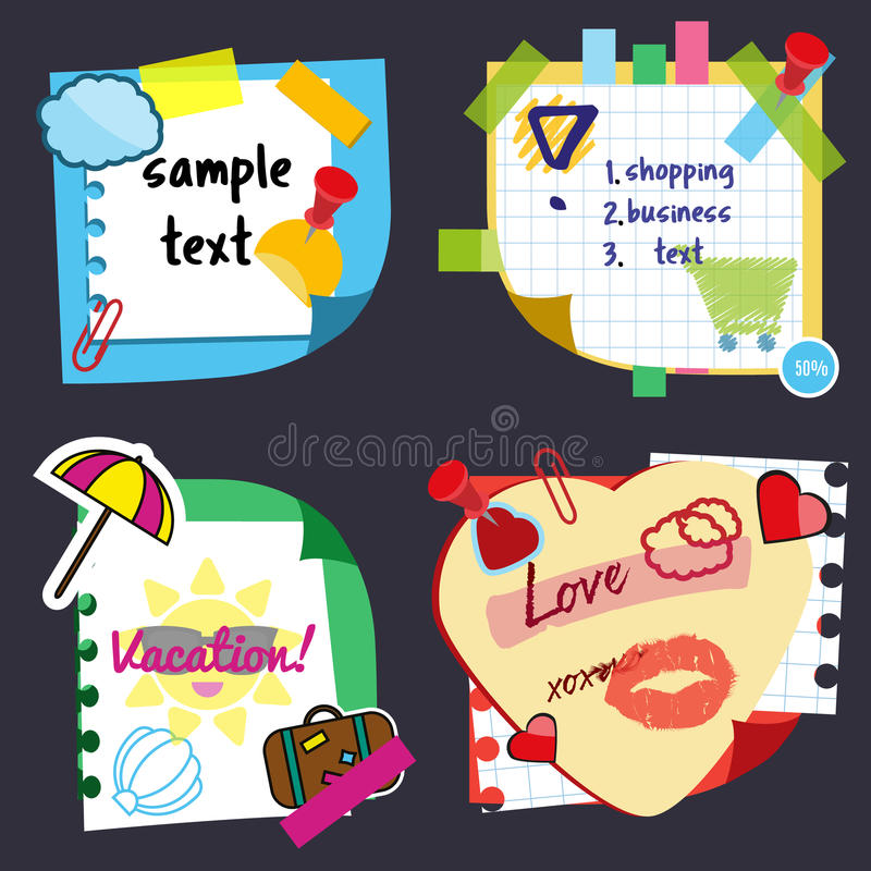 Realistic sticky notes sheets with stickers, sample text and decorative elements. Paper reminders hanging with adhesive stock illustration