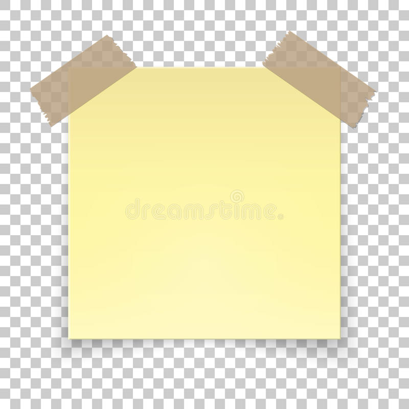 Realistic Sticky Tape On Transparent Background Empty Yellow Note