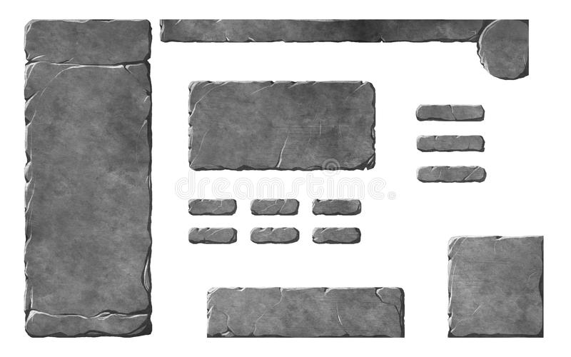 Realistic stone buttons and interface elements. Realistic stone textured Fantasy or historical game interface elements. Buttons, windows and panels vector illustration