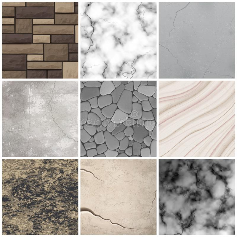 Realistic stone texture patterns collection royalty free illustration